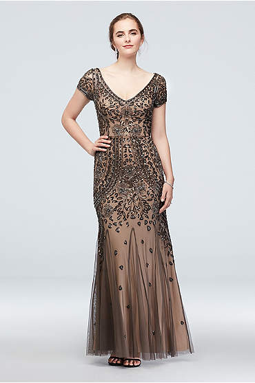 Bead and Sequin Embellished Mesh Overlay Gown