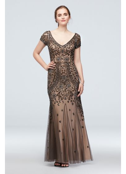 Bead and Sequin Embellished Mesh Overlay Gown - A modern take on Roaring 20s sophistication, this