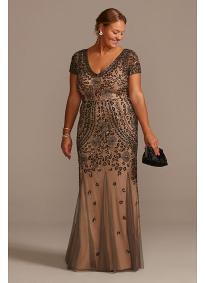 Bead and Sequin Embellished Mesh Overlay Plus Gown - A modern take on Roaring 20s sophistication, this