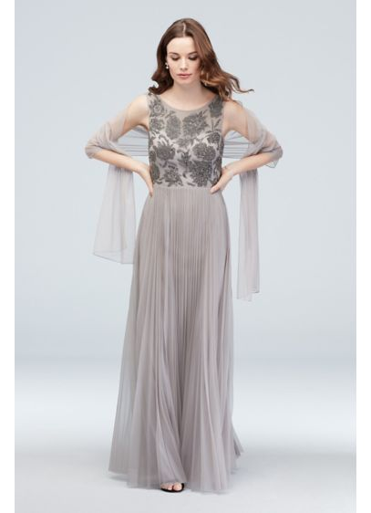 Beaded Bodice Accordion Pleated Gown with Shawl - You'll exude confidence and grace in this luxurious