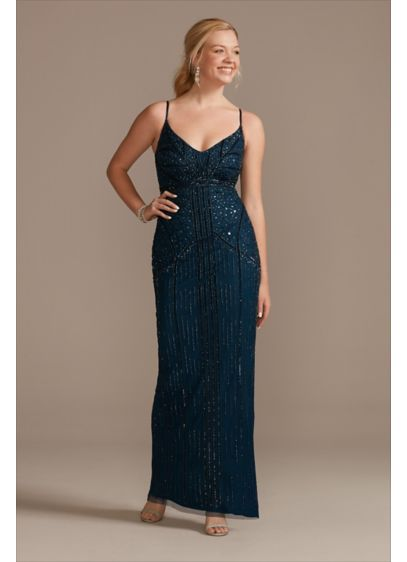 Beaded V-Neck Spaghetti Strap Mesh Sheath Dress - This stunning sheath dress is all decked out
