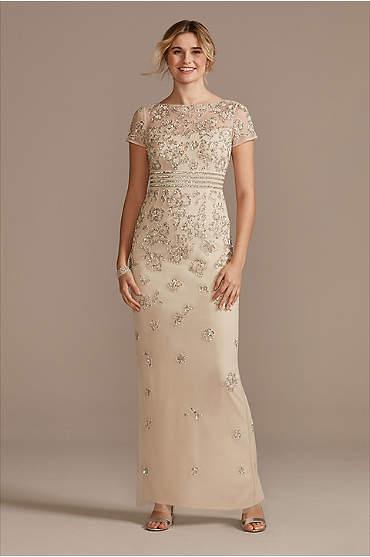 Floral Beaded High Neck Short Sleeve  Sheath Dress