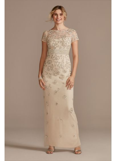 Floral Beaded High Neck Short SleeveSheath Dress - A lovely choice for the mother of the