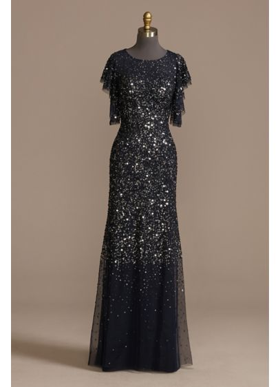 Long A-Line Short Sleeves Formal Dresses Dress -