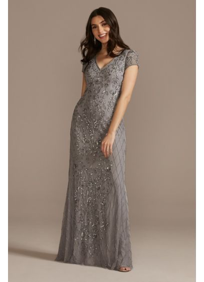 Long Beaded V-Neck Cap Sleeve Sheath Dress - The mother of the bride or groom will