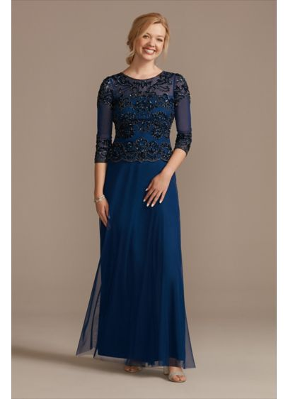 Beaded Three-Fourth Sleeve Scoopneck A-Line Dress - Sparkly and sophisticated, this classic dress features a