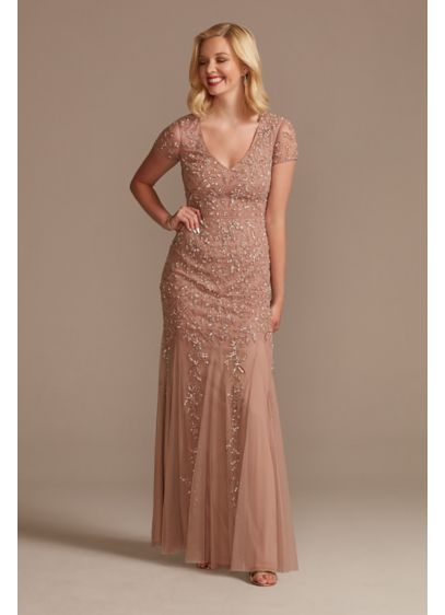 Cap Sleeve Beaded Sheath Dress with Tulle Godets - Covered in stunning beadwork from the cap sleeves