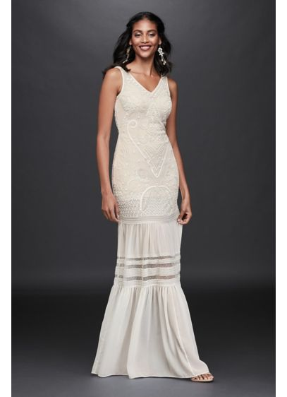Beaded Chiffon Wedding Dress with Flounce Skirt - A delicate layer of crinkle chiffon with a