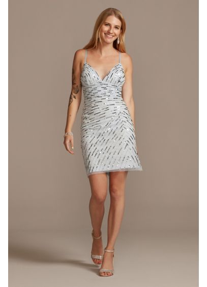 Short Sheath Spaghetti Strap Cocktail and Party Dress - David's Bridal