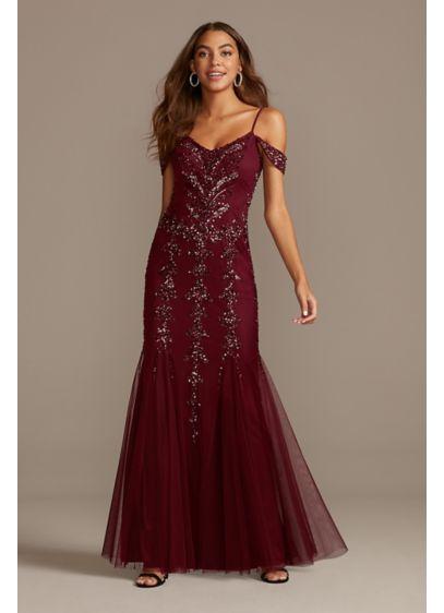 Sequin Embellished Cold Shoulder Dress with Godets - A vibrant pattern of multi-color sequins decorates the