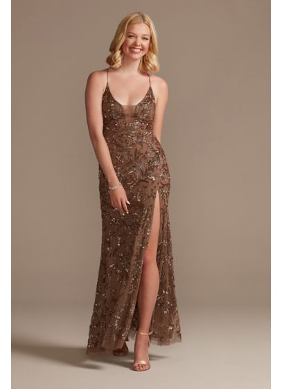 Beaded Sheath Gown with Illusion Cutout - This beaded sheath gown features a sexy illusion
