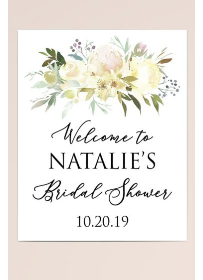 Bouquet Personalized Bridal Shower Welcome Sign - Wedding Gifts & Decorations