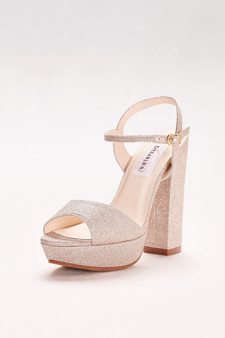 Dyeables Grey Ivory (Glitter Chunky-Heel Platform Peep-Toes) 723b82f33a31