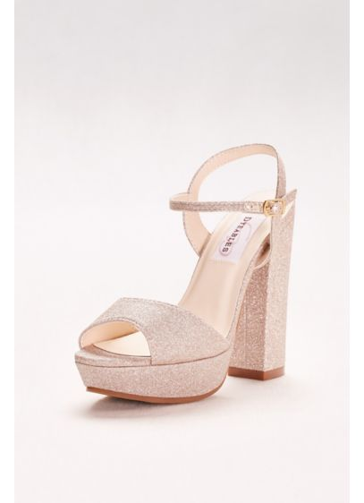 Glitter Chunky-Heel Platform Peep-Toes - A perfect pair for prom, these funky, chunky