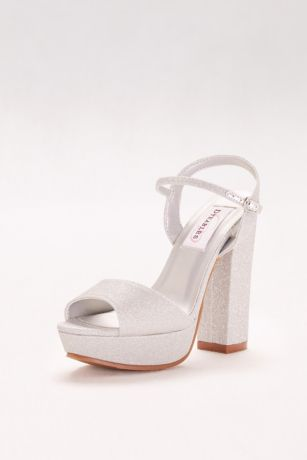 fc77edc76ff Dyeables Grey Ivory (Glitter Chunky-Heel Platform Peep-Toes)