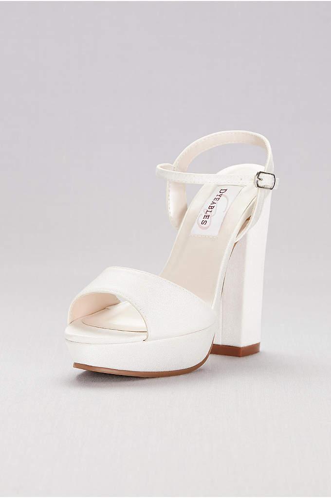 Dyeable Matte Satin Platform Sandals - This dyeable matte satin pair gets a lift
