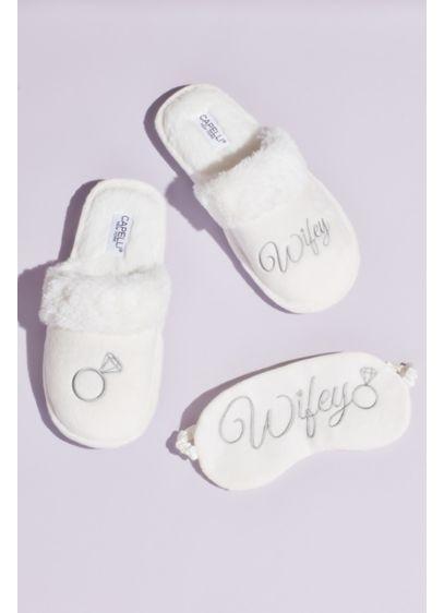 Fuzzy Wifey Slippers and Sleep Mask Set - Detailed with a faux-fur cuff and embroidered with