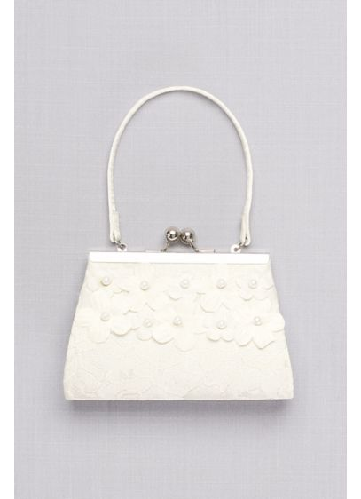 David's Bridal Ivory (Girls Lace Purse with 3D Pearl Flowers)