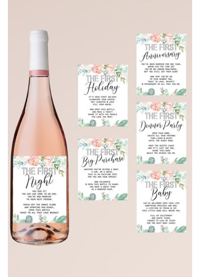 Marriage Milestone Floral Wine Label Set - Decorated with pretty florals, this set of six