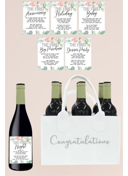 Wedding Milestone Wine Labels and Bottle Caddy - A thoughtful gifts for the newlyweds, this set