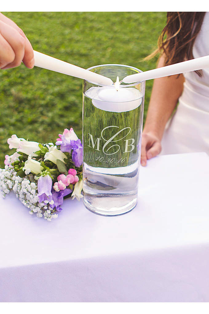 Personalized Monogram Floating Unity Candle - A stunningly modern design, the Personalized Monogram Floating