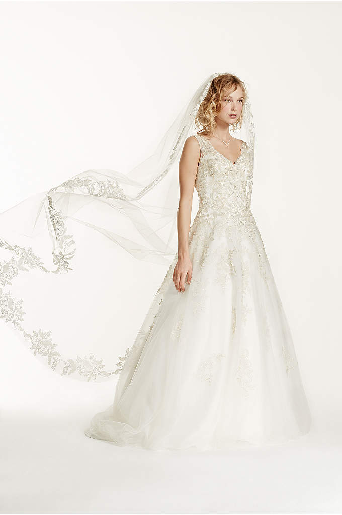 Cathedral Veil with Floral Applique Edge - There will be a whimsical air as you