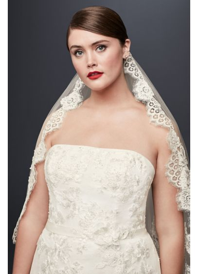 Mid Veil with Trailing Lace - Wedding Accessories