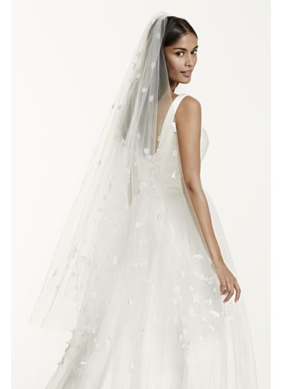 Two Tier Veil with Scattered 3D Floral Detail - Wedding Accessories