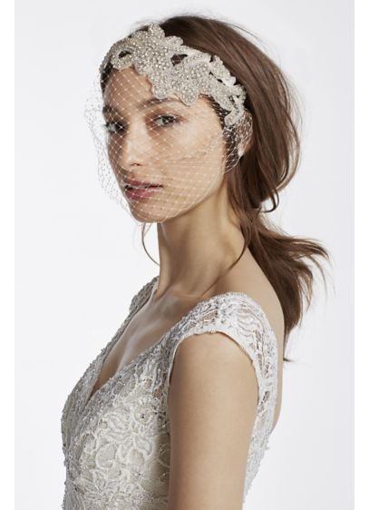 Embellished Crystal Blusher Veil - Wedding Accessories