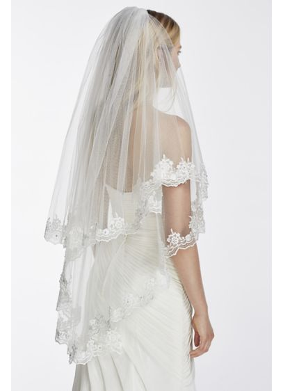 Two Tier Mid Length Veil with Crystals and Lace - Wedding Accessories