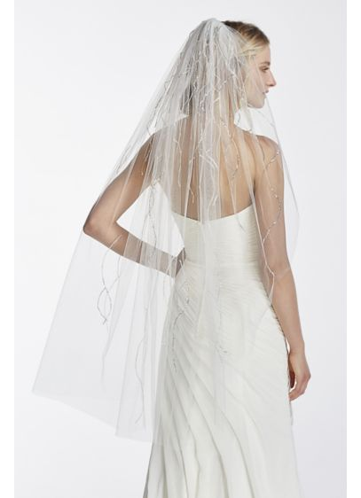 One Tier Mid Length Veil with Beaded Linear - Wedding Accessories