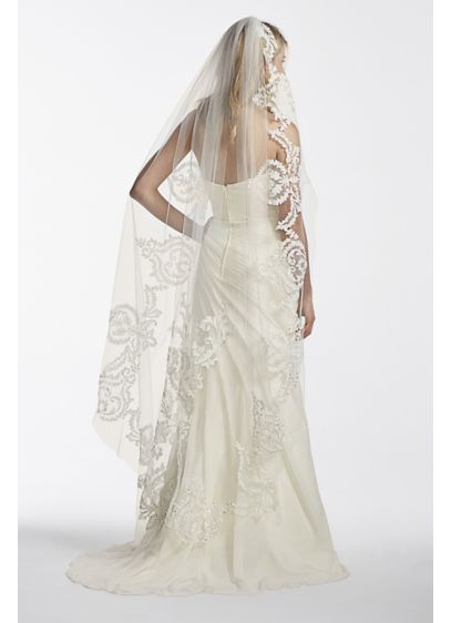 One Tier Mid Length Veil with Applique Scroll Work - Wedding Accessories
