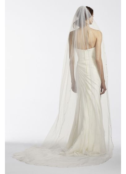 David's Bridal Ivory (One tier Cathedral Veil with Simple Scroll Edge)