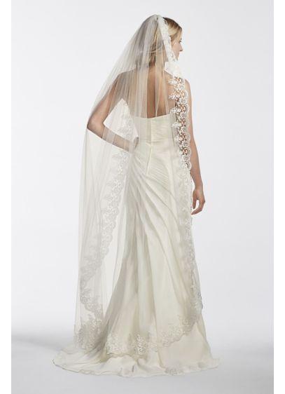 David's Bridal Ivory (Walking Veil with Circle Cut Lace Edge)