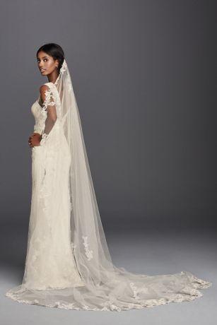 One Tier Cathedral Lace Applique Comb Veil | David\'s Bridal