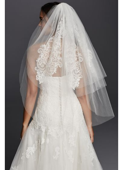 David's Bridal White (Three Tier Lace Embellished Veil)
