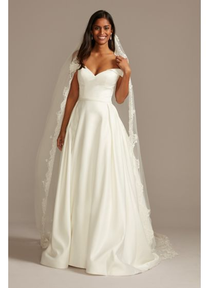David's Bridal White (Cathedral Veil with Sequined Lace Appliques)
