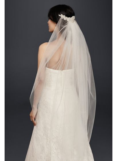 Mid-Length Veil with Floral Comb Detail - Wedding Accessories