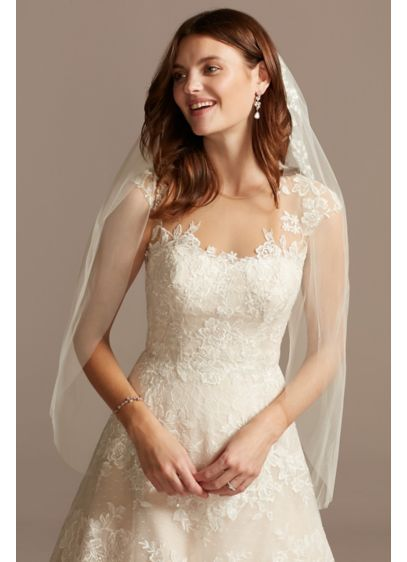 Cascading Floral Embroidered Fingertip Veil - Beautiful floral embroidery embellishes the top of this