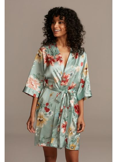 Painterly Floral Satin Robe - This soft satin robes features a painterly floral