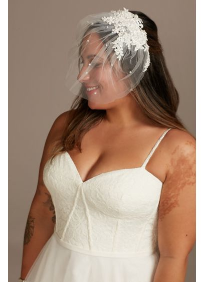 Lace Applique Blusher Veil with Pearls - Romantic floral lace appliques adorn the crown of