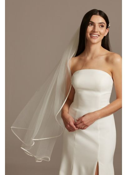 Tulle Finger-Length Veil with Satin Edge - Wedding Accessories