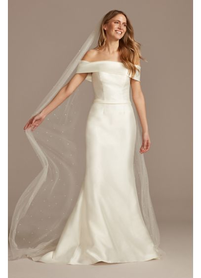 Scattered Pearl Embellished Chapel Length Train - Wedding Accessories
