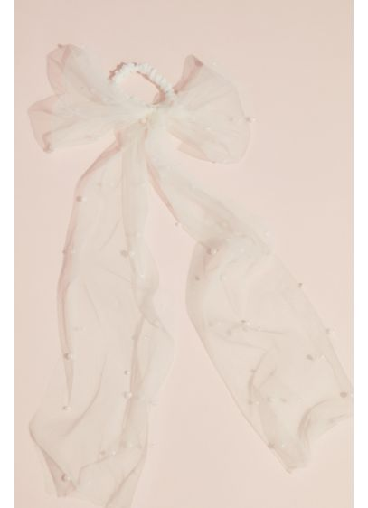 Pearl Embellished Tulle Bow Hair Tie - Add some flair to your ponytail or bun