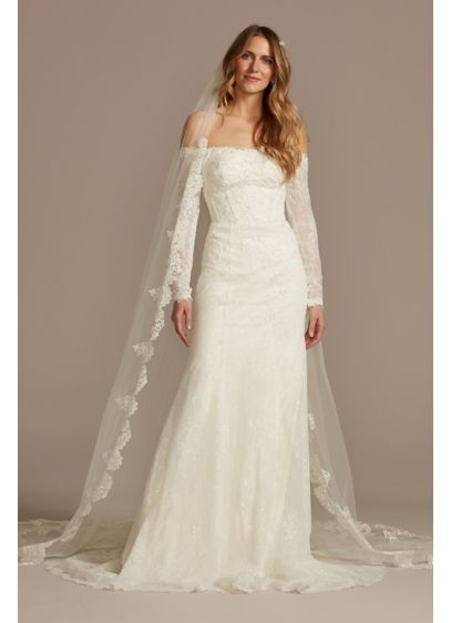 Tulle Cathedral Veil with Scalloped Lace Appliques - Wedding Accessories