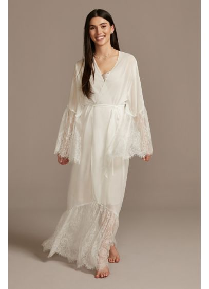 Chiffon Floor-Length Robe with Eyelash Lace Trim - An eyelash lace drop hem and bell sleeves