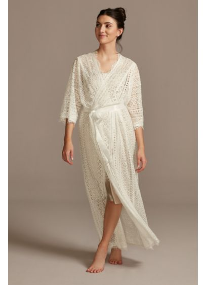 Crochet Lace Long Robe with Sash - This long crochet lace robe instantly adds elegance