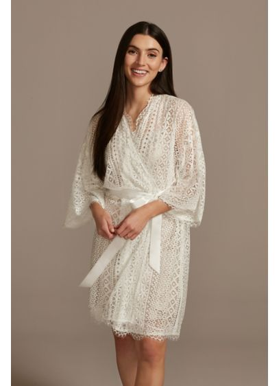 Crochet Lace Robe with Satin Sash - Instantly add an elegant vibe to your getting-ready