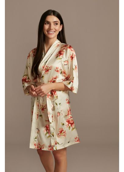 Floating Florals Satin Robe - Covered with a pattern of beautiful floating floral