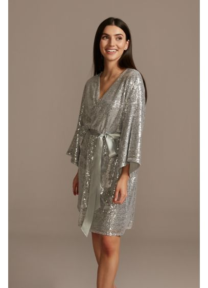 Allover Sequin Robe with Satin Sash - Wedding Gifts & Decorations